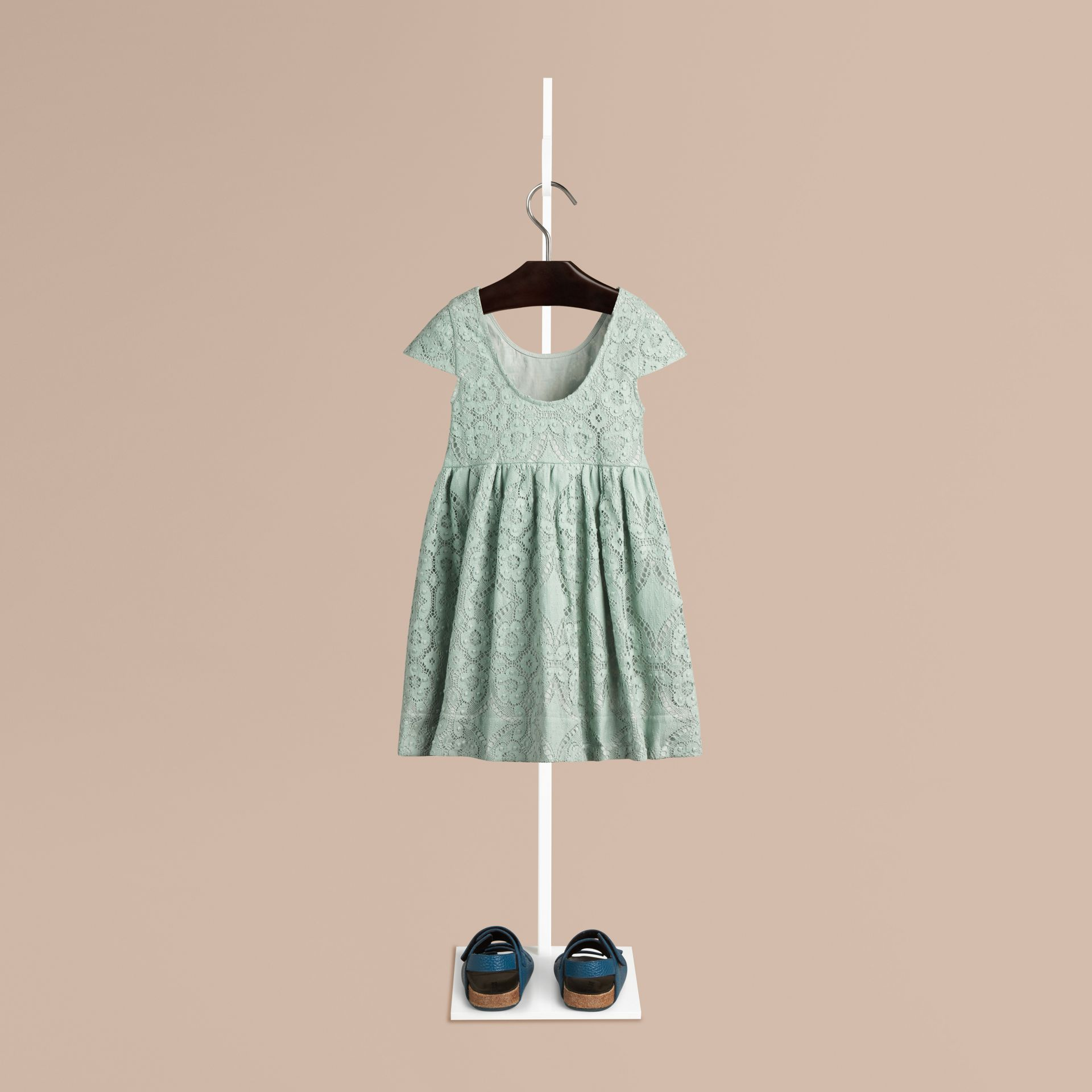 Pastel green Cap Sleeve English Lace Dress Pastel Green - gallery image 2