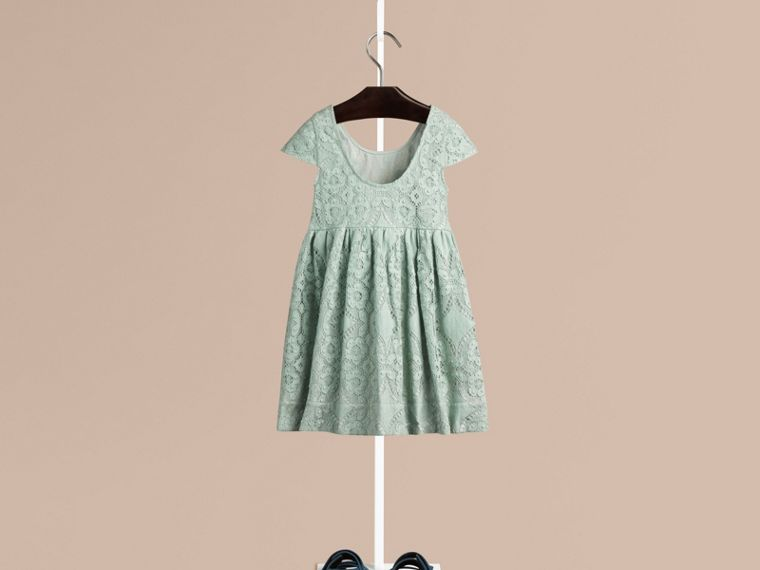 Pastel green Cap Sleeve English Lace Dress Pastel Green - cell image 1