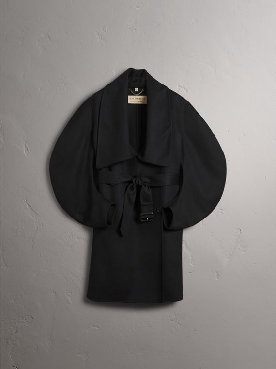 Double-faced Wool Cashmere Sculptural Coat in Black - Women | Burberry - cell image 3