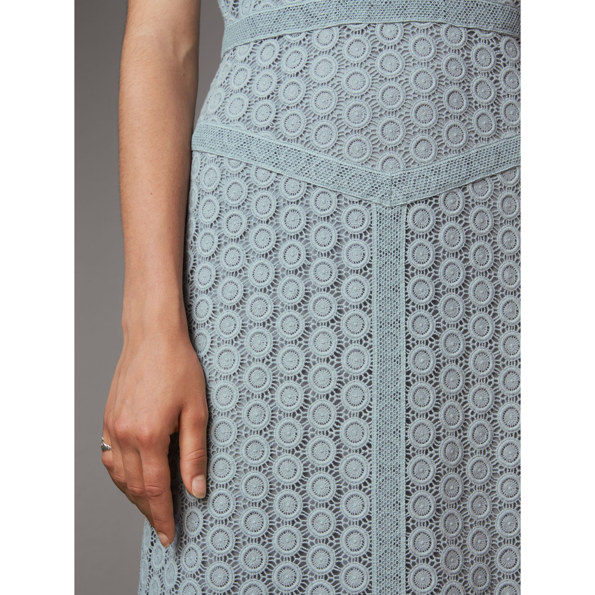 Geometric Lace Cotton Sheath Dress in Pale Slate Blue - Women | Burberry - gallery image 5