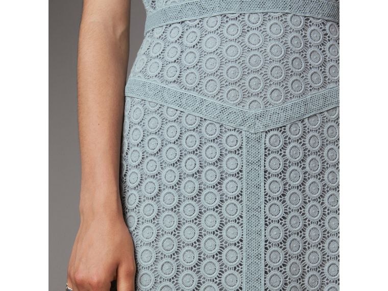 Geometric Lace Cotton Sheath Dress in Pale Slate Blue - Women | Burberry - cell image 4