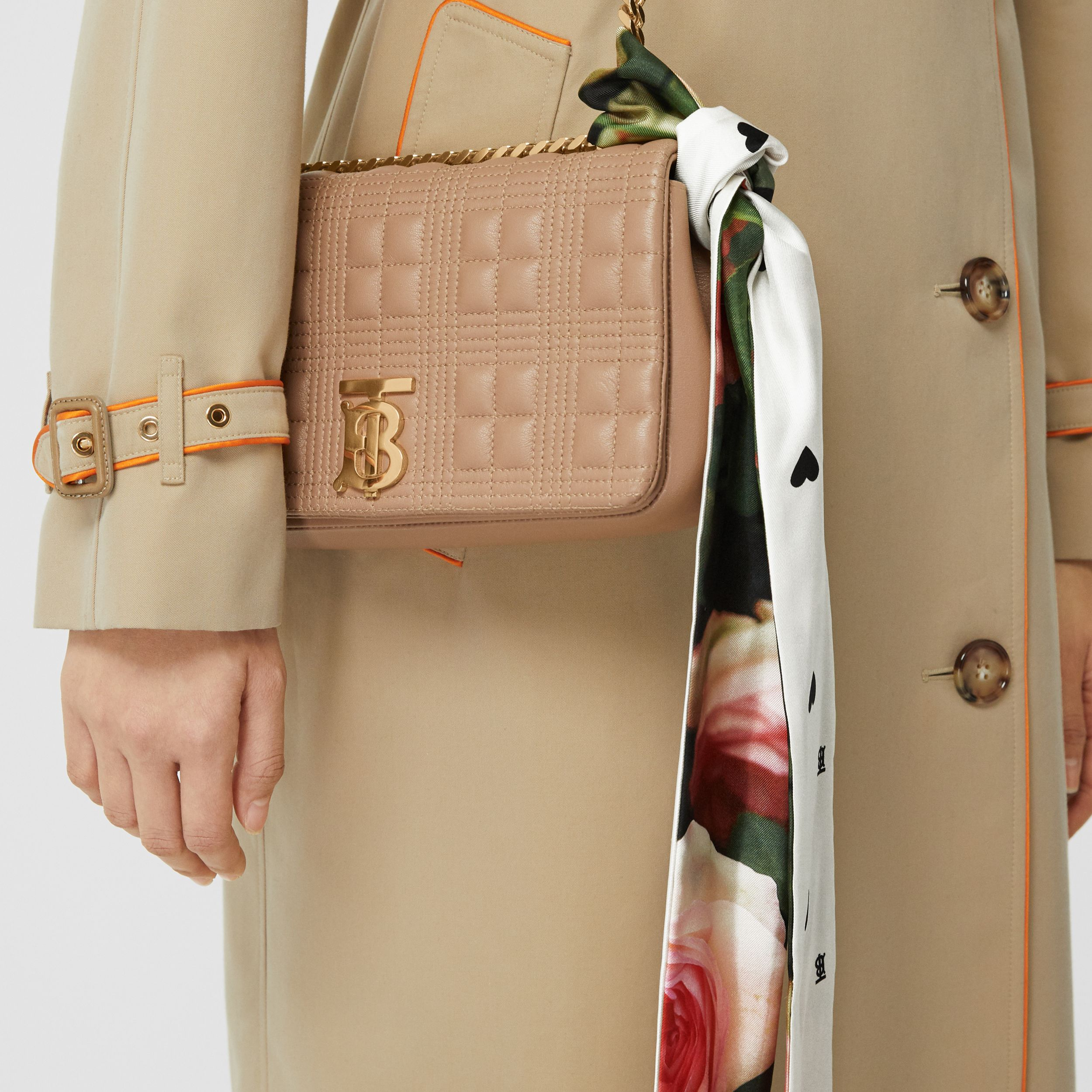 Floral Print Silk Skinny Scarf in Rose Pink | Burberry - 3