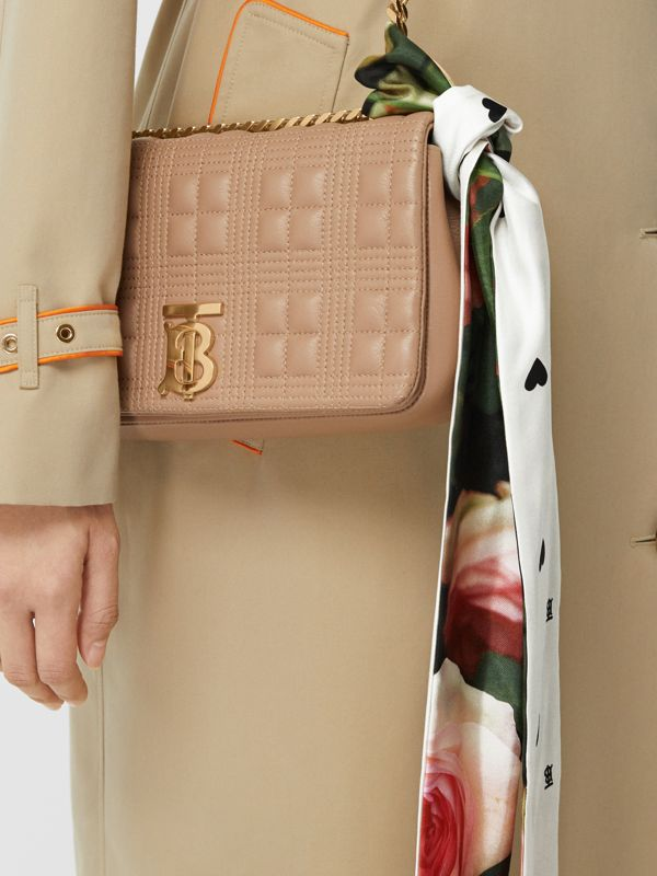 Floral Print Silk Skinny Scarf in Rose Pink | Burberry - cell image 2