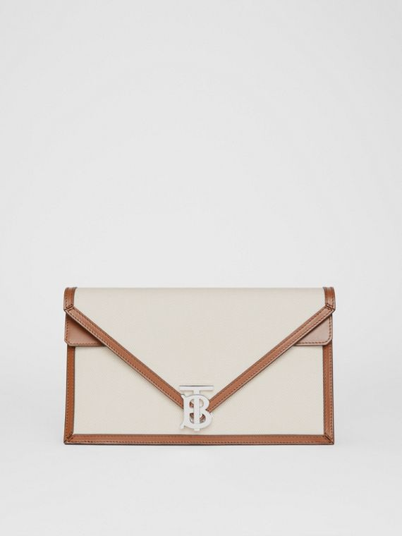 Small Canvas and Leather TB Envelope Clutch in Natural