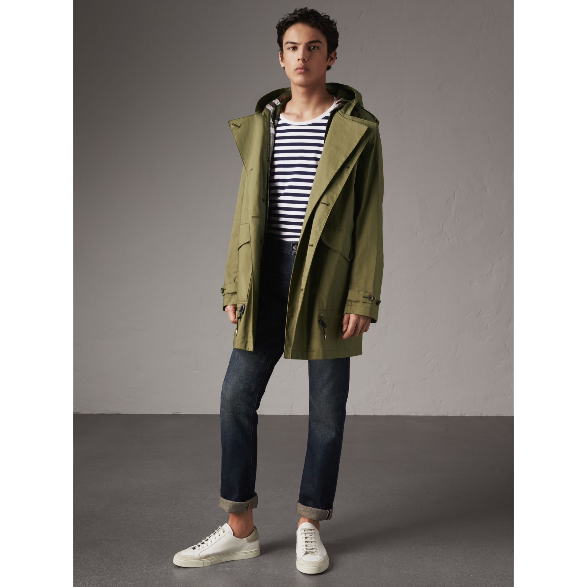 Bonded Cotton Parka with Detachable Warmer in Khaki Green - Men | Burberry United Kingdom - gallery image 1