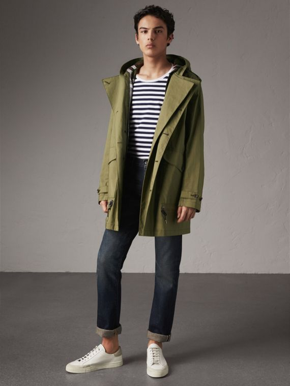 Bonded Cotton Parka with Detachable Warmer in Khaki Green