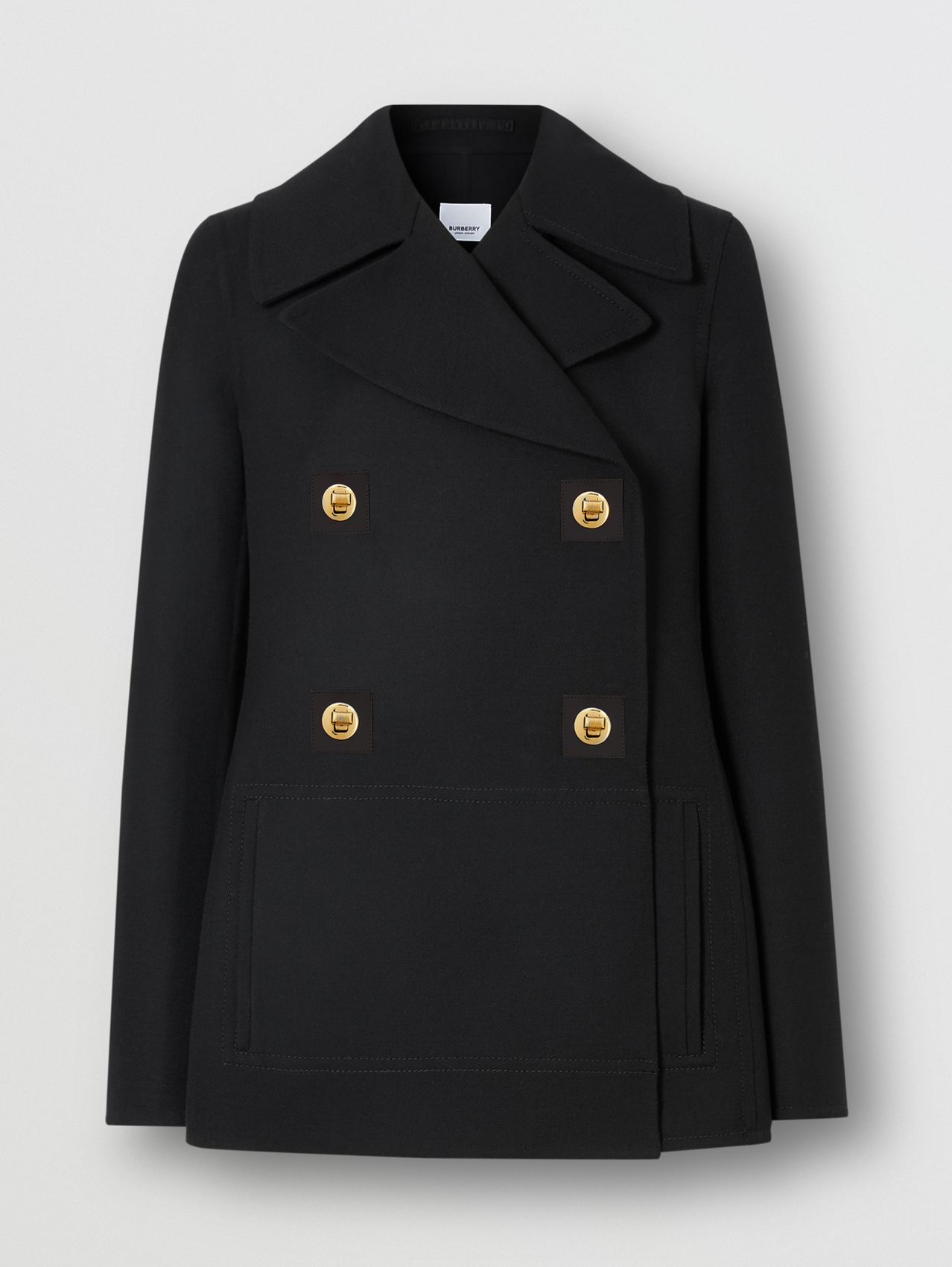 Double-faced Wool Pea Coat in Black