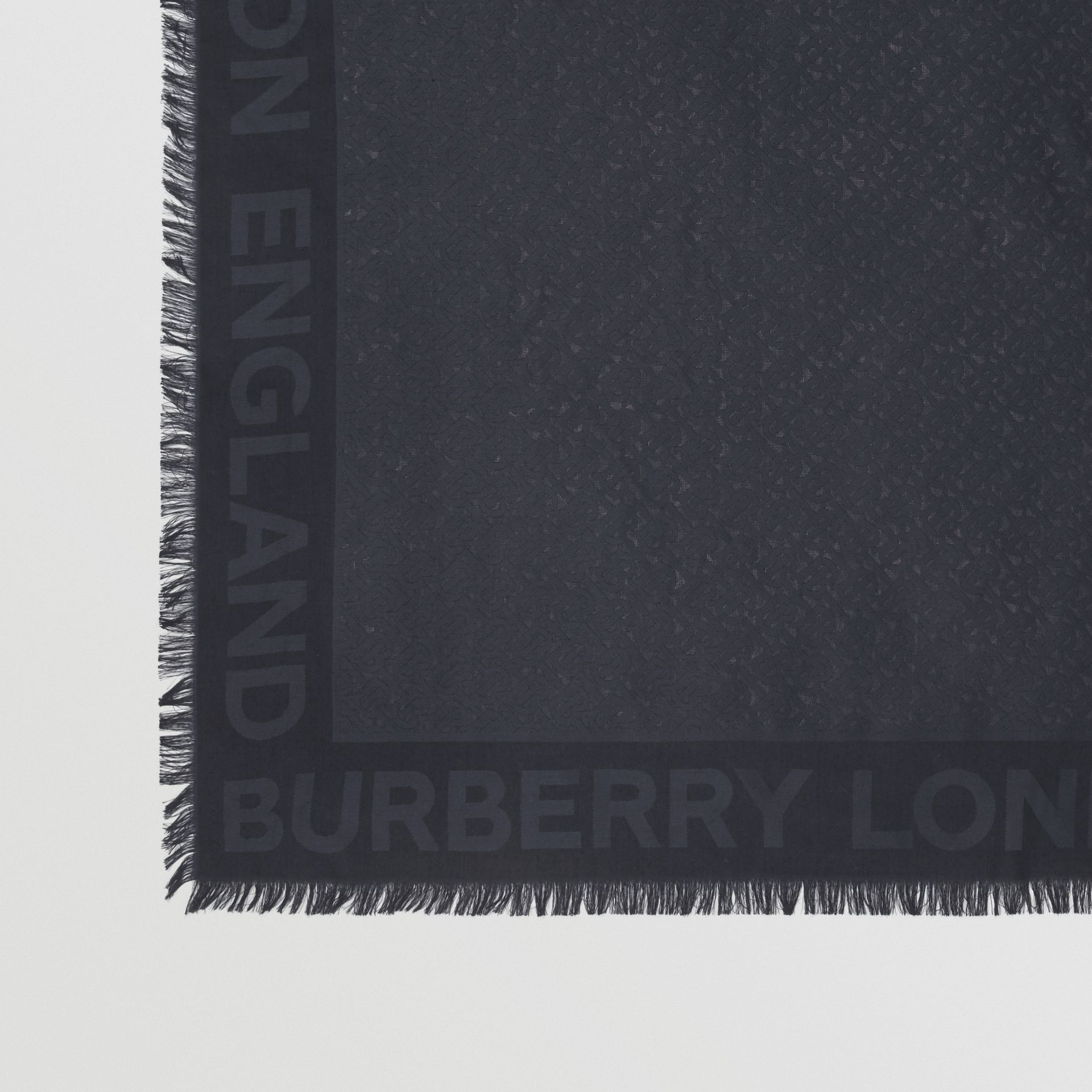 Monogram Silk Wool Jacquard Large Square Scarf in Navy | Burberry Australia - gallery image 1