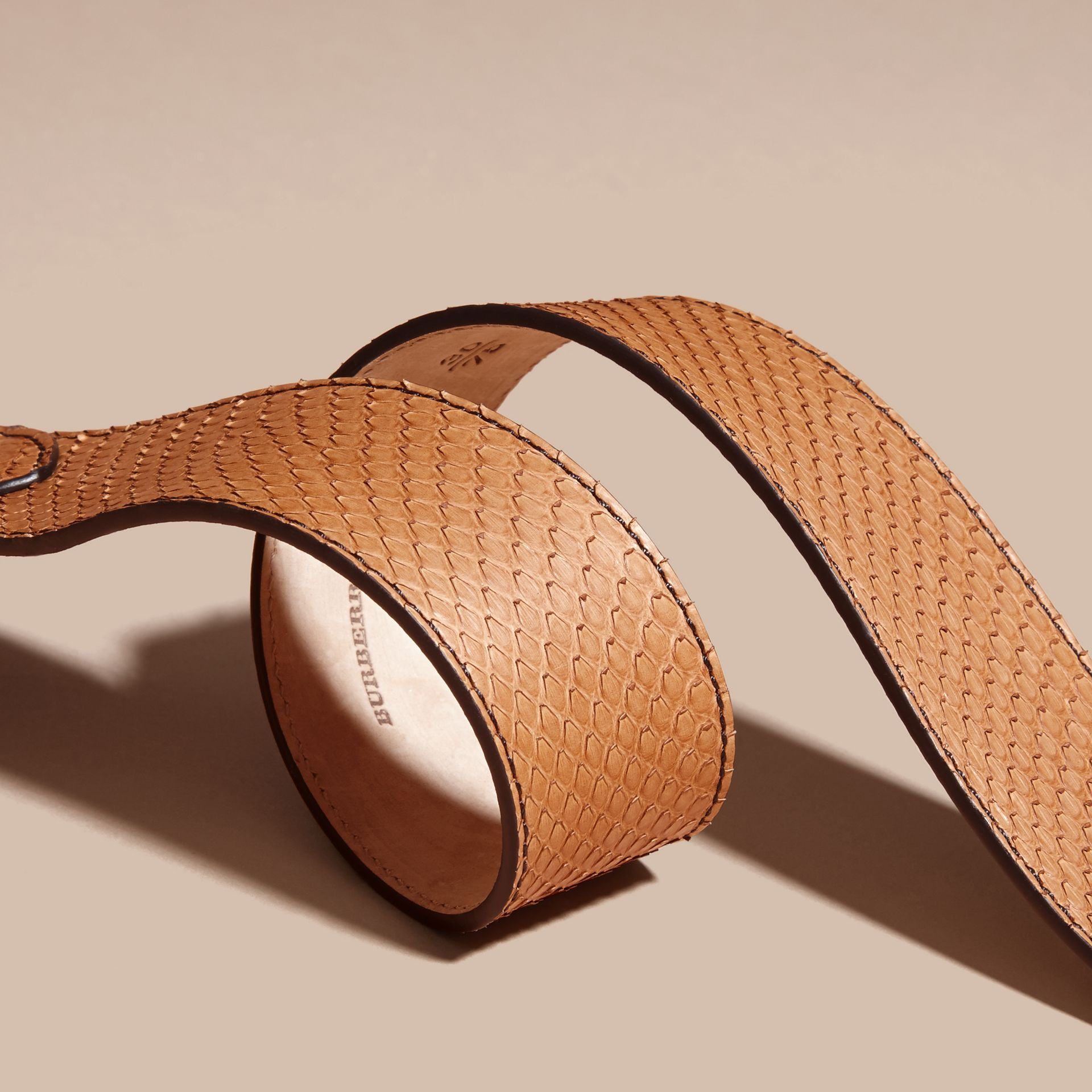 Python Belt in Camel - Women | Burberry - gallery image 3