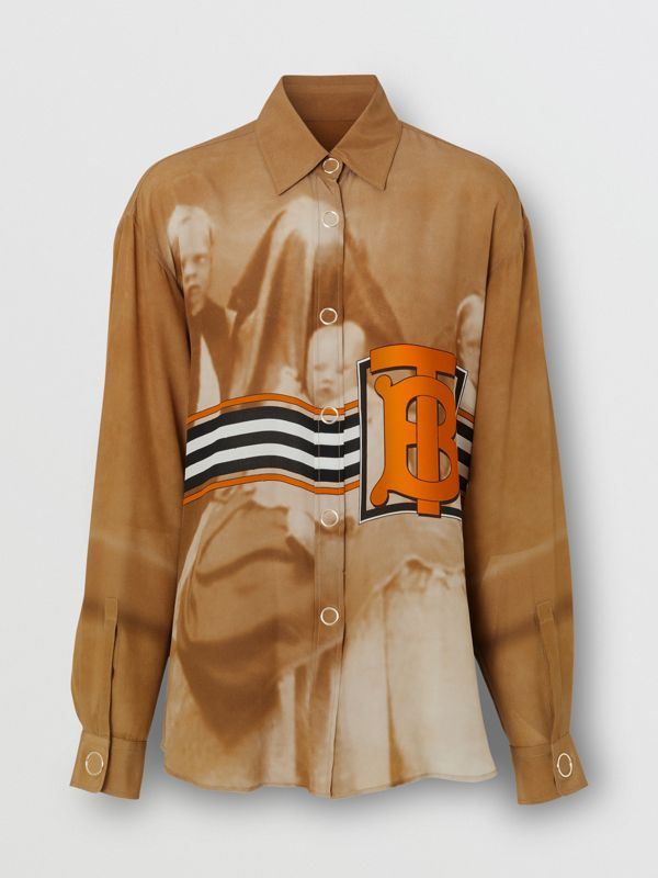 Victorian Portrait Print Silk Oversized Shirt in Brick - Women | Burberry Singapore - cell image 3