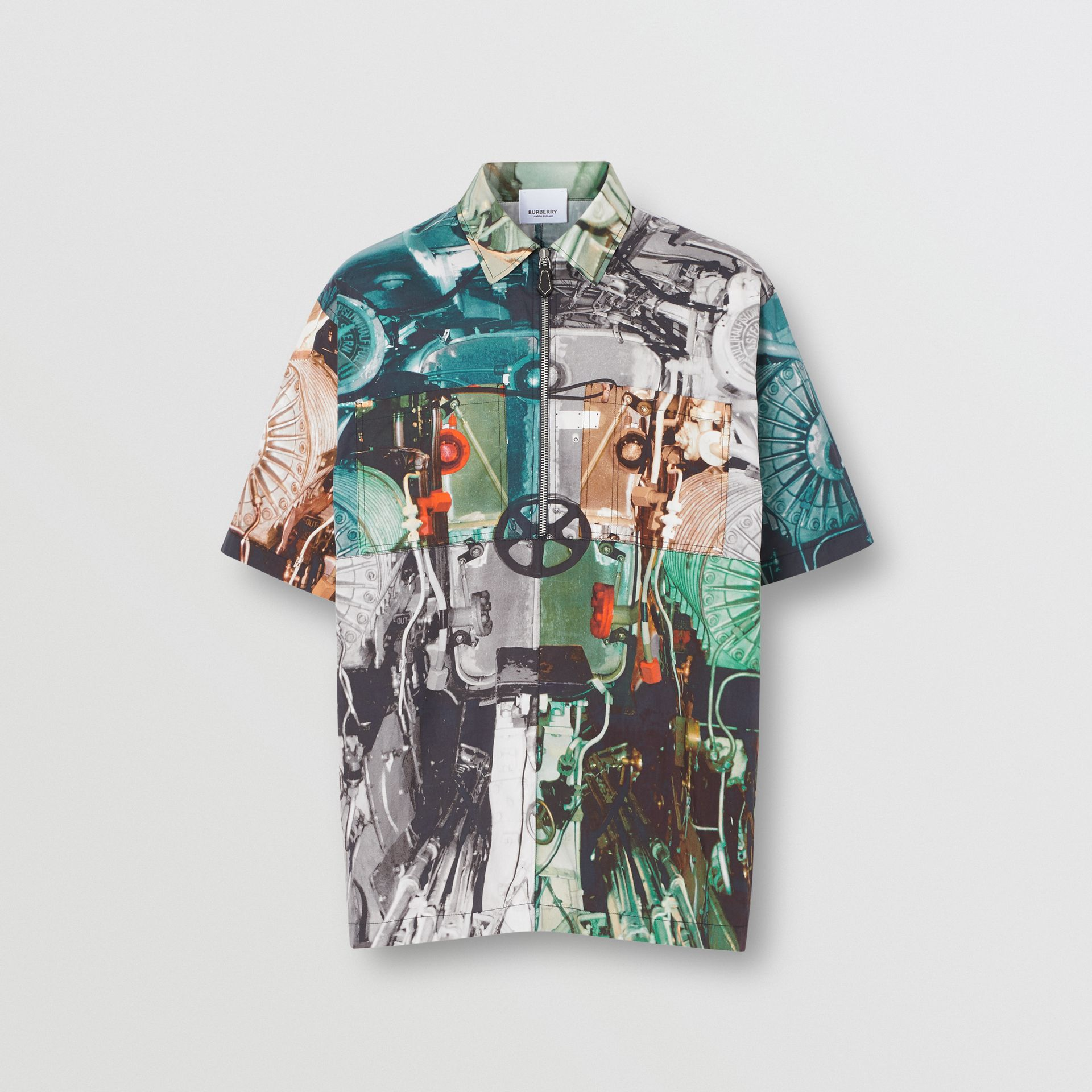 Short-sleeve Submarine Print Cotton Shirt in Multicolour - Men | Burberry - gallery image 3