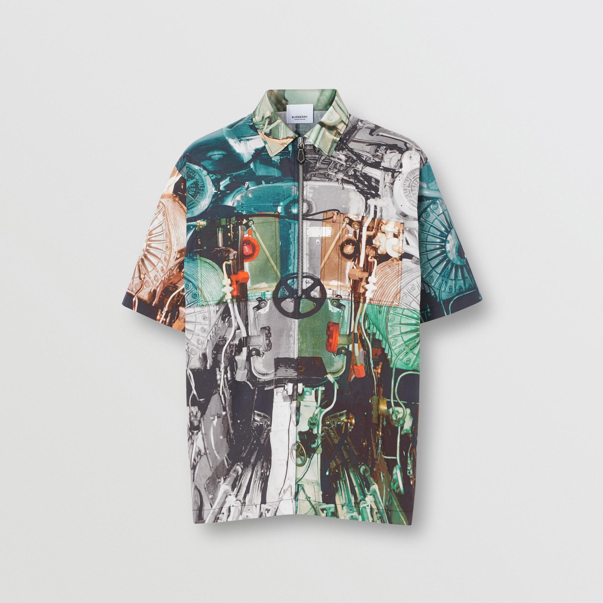 Short-sleeve Submarine Print Cotton Shirt in Multicolour - Men | Burberry United Kingdom - gallery image 3