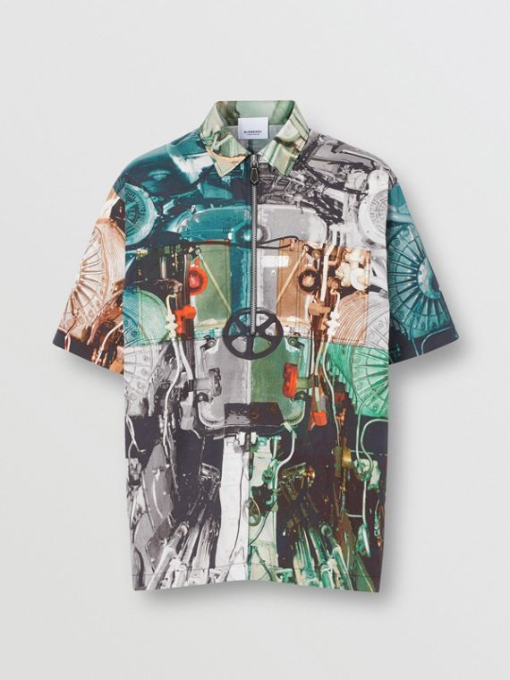 Short-sleeve Submarine Print Cotton Shirt in Multicolour