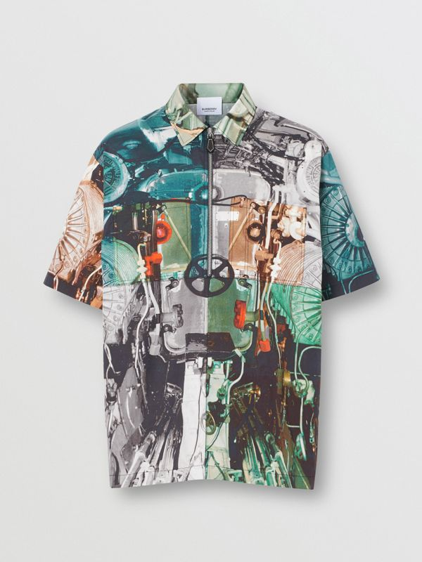 Short-sleeve Submarine Print Cotton Shirt in Multicolour - Men | Burberry - cell image 3