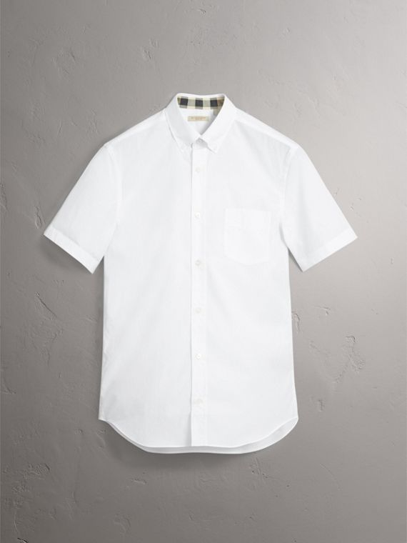 Short-sleeved Stretch Cotton Poplin Shirt in White - Men | Burberry United Kingdom - cell image 3