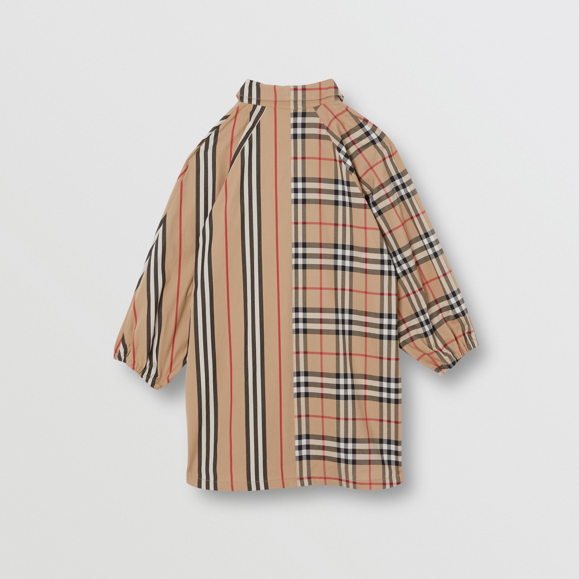 Vintage Check and Icon Stripe Cotton Shirt Dress in Archive Beige | Burberry Australia - gallery image 3