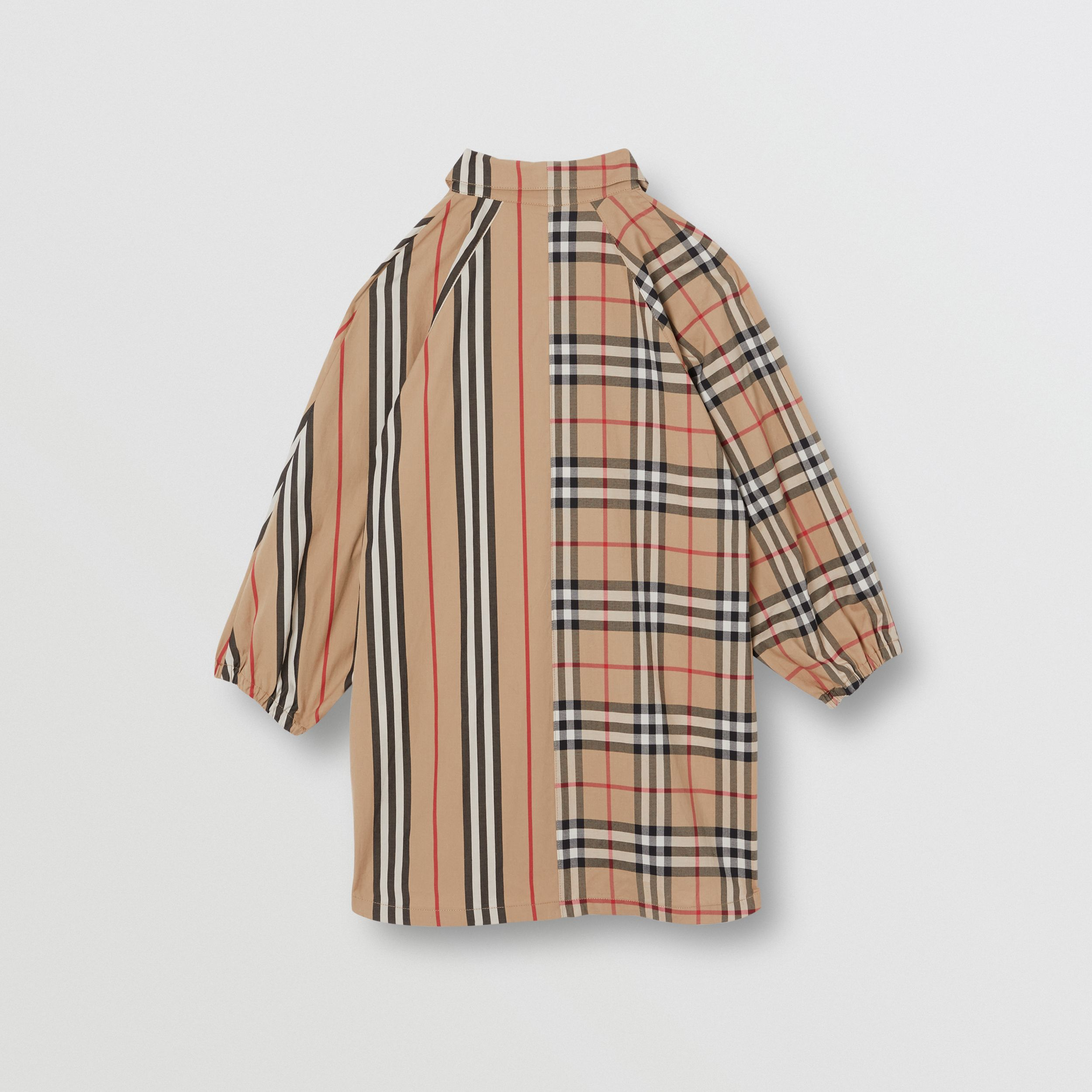 Vintage Check and Icon Stripe Cotton Shirt Dress in Archive Beige | Burberry - 4