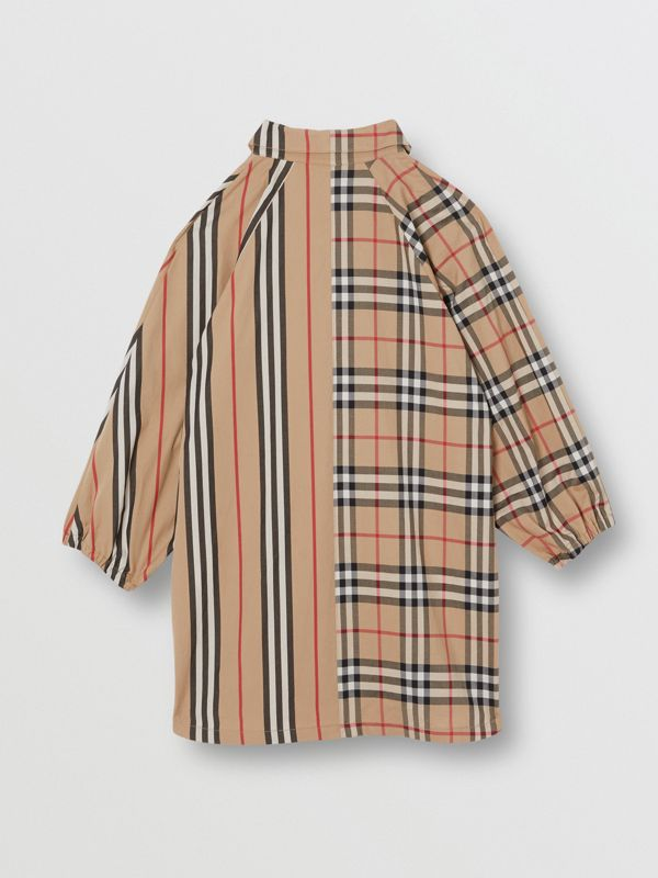Vintage Check and Icon Stripe Cotton Shirt Dress in Archive Beige | Burberry - cell image 3