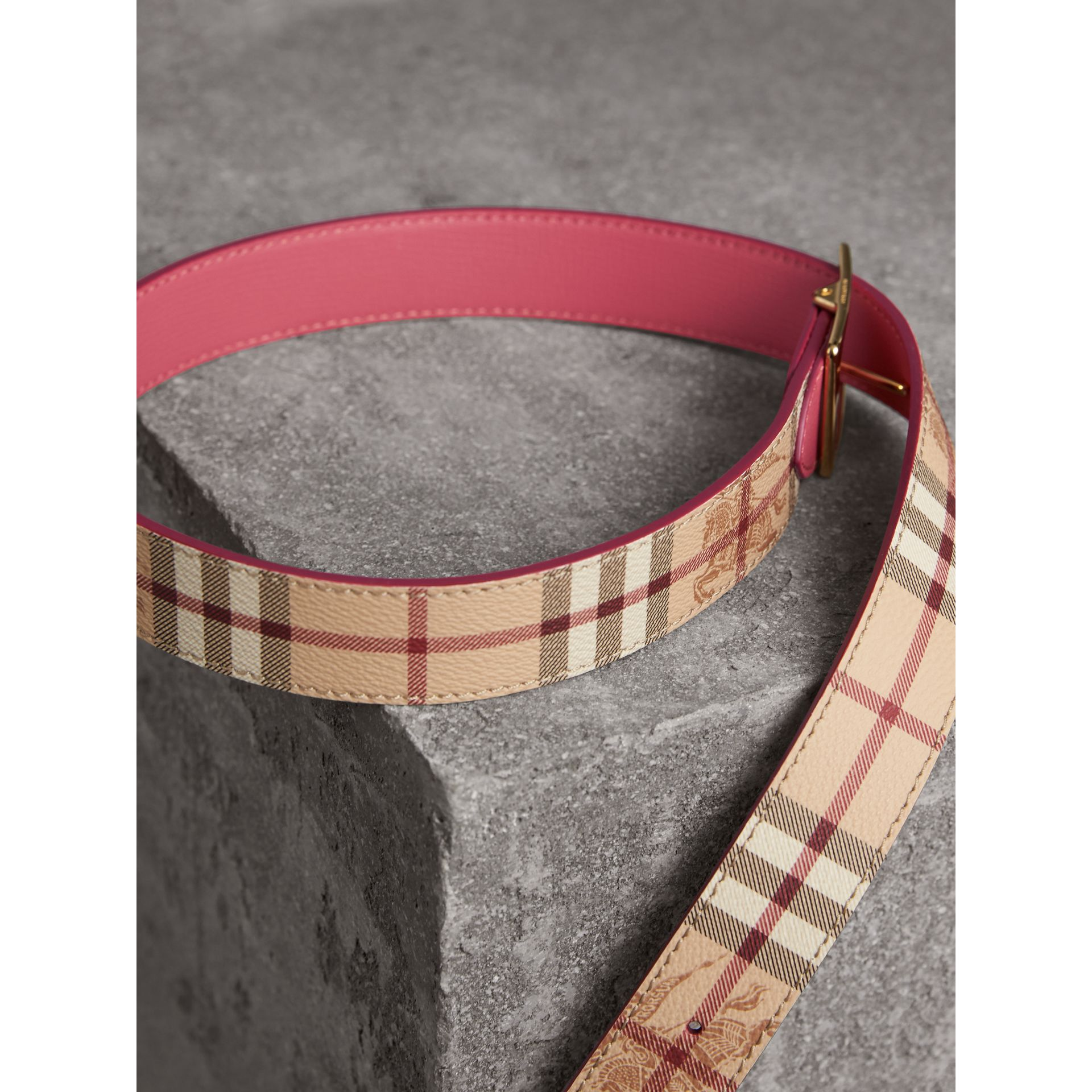 Riveted Reversible Check and Leather Belt in Plum Pink - Women | Burberry - gallery image 3
