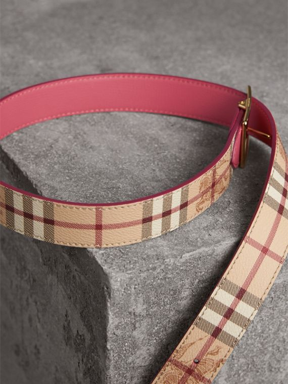 Riveted Reversible Check and Leather Belt in Plum Pink - Women | Burberry - cell image 2