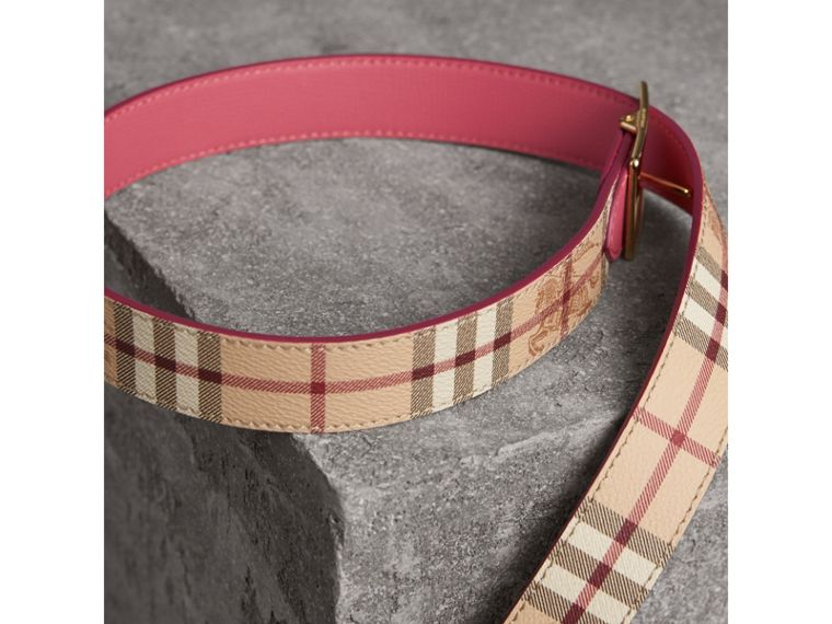 Riveted Reversible Check and Leather Belt in Plum Pink - Women | Burberry - cell image 4