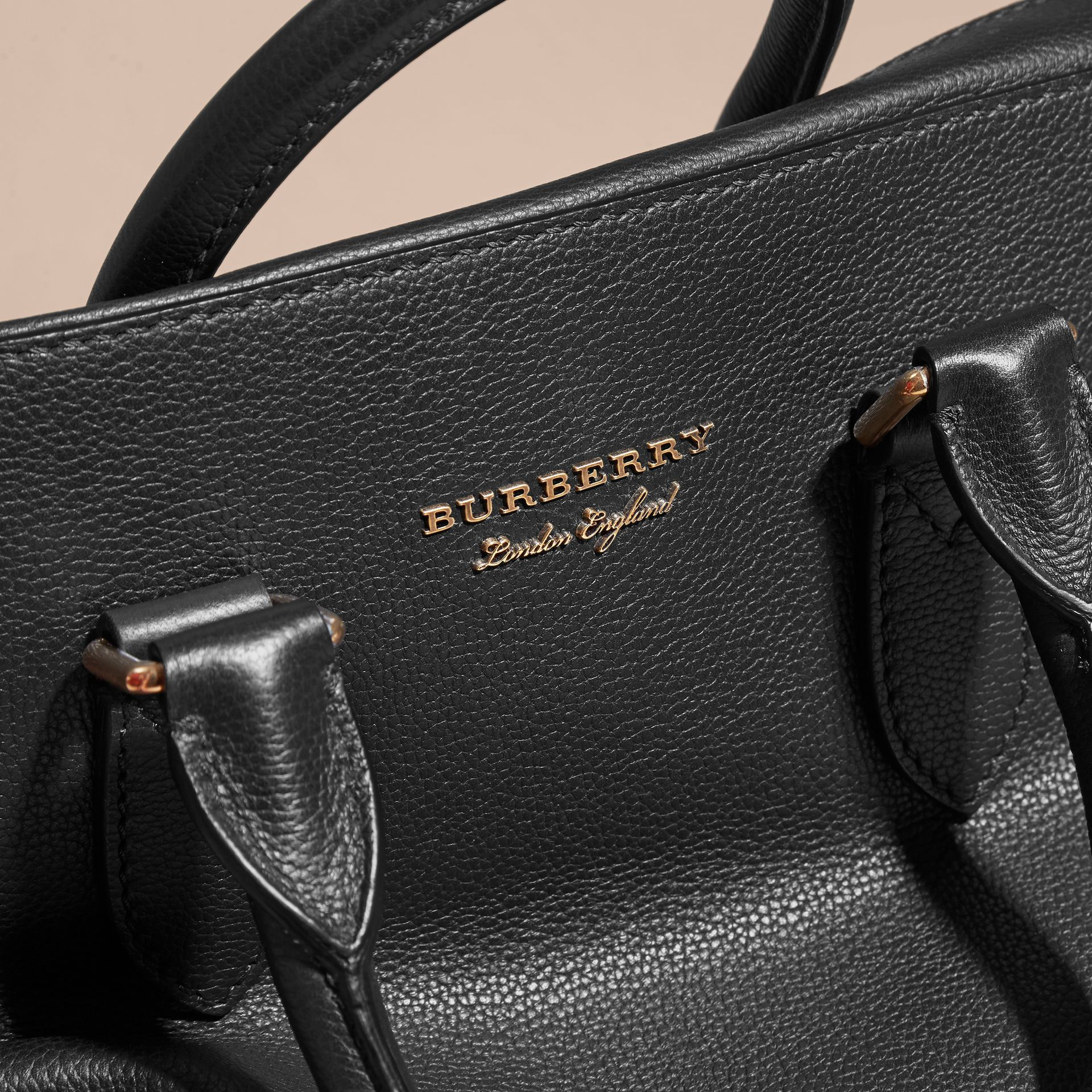Leather and House Check Briefcase in Black - Men | Burberry - gallery image 2