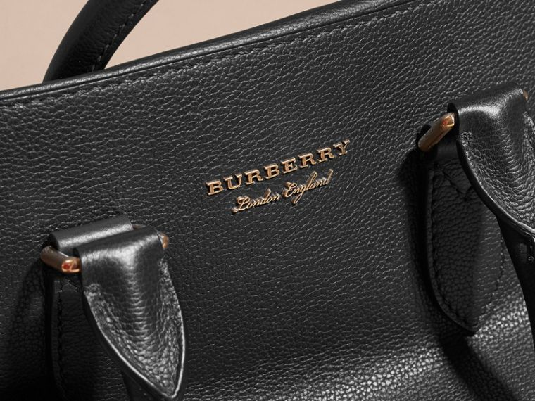 Leather and House Check Briefcase in Black - Men | Burberry - cell image 1