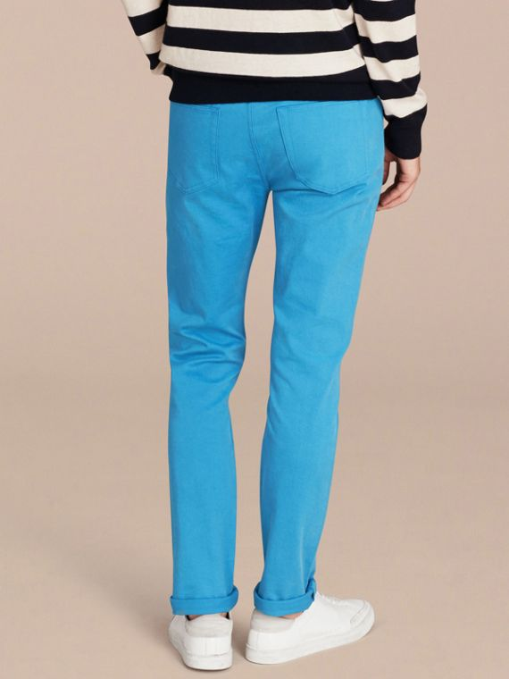 Slim Fit Japanese Stretch Denim Jeans Cerulean Blue - cell image 2