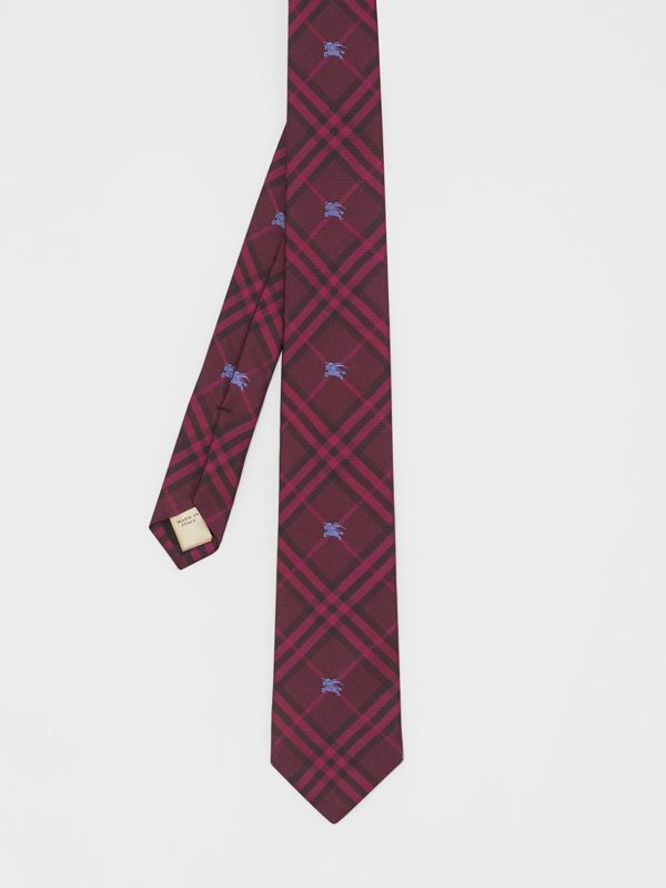 Slim Cut Equestrian Knight Check Silk Tie in Dark Elderberry - Men | Burberry - cell image 3