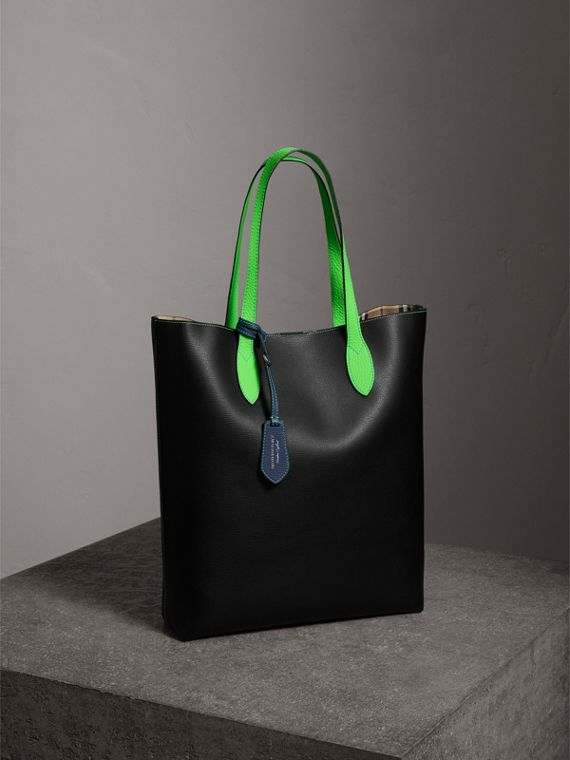 Medium Two-tone Coated Leather Tote in Black