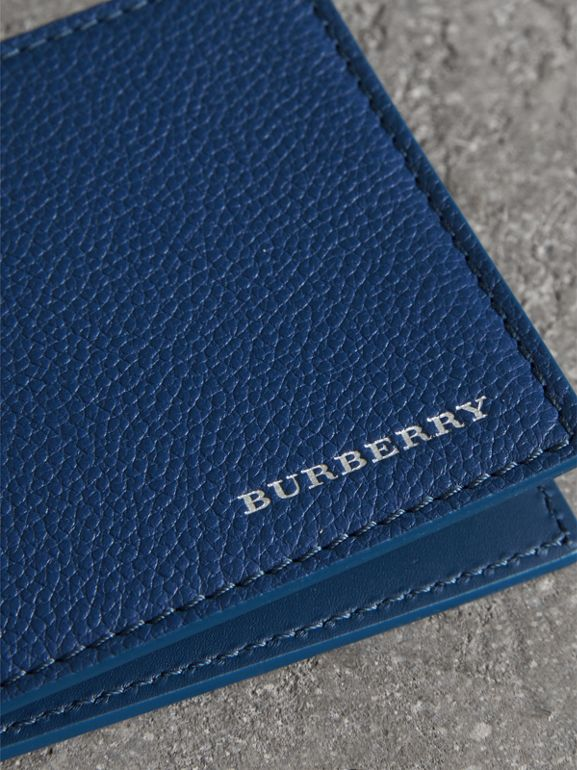 Grainy Leather Money Clip Card Wallet in Bright Ultramarine - Men | Burberry - cell image 1