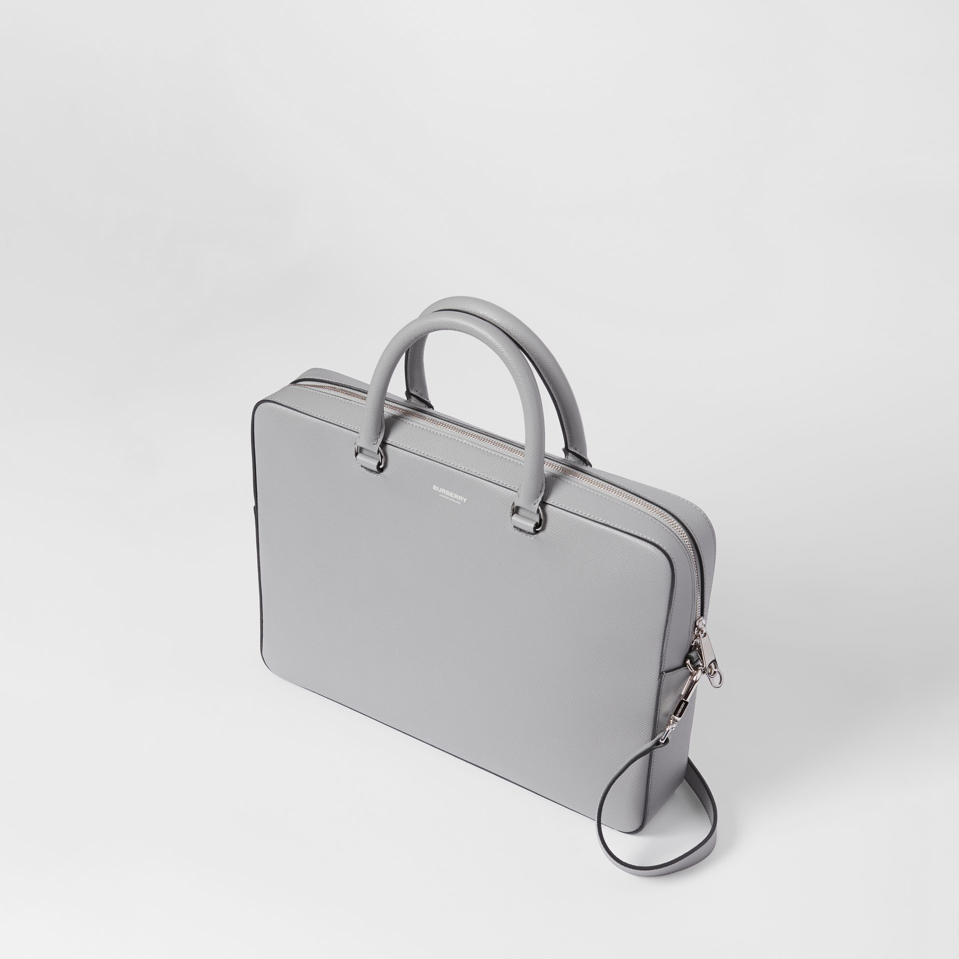Grainy Leather Briefcase in Cloud Grey - Men | Burberry - gallery image 3