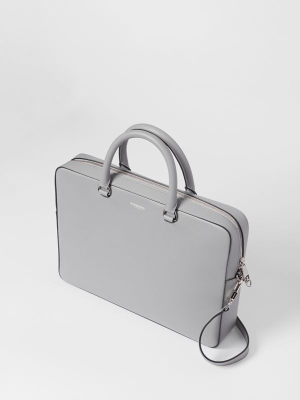 Grainy Leather Briefcase in Cloud Grey - Men | Burberry - cell image 3