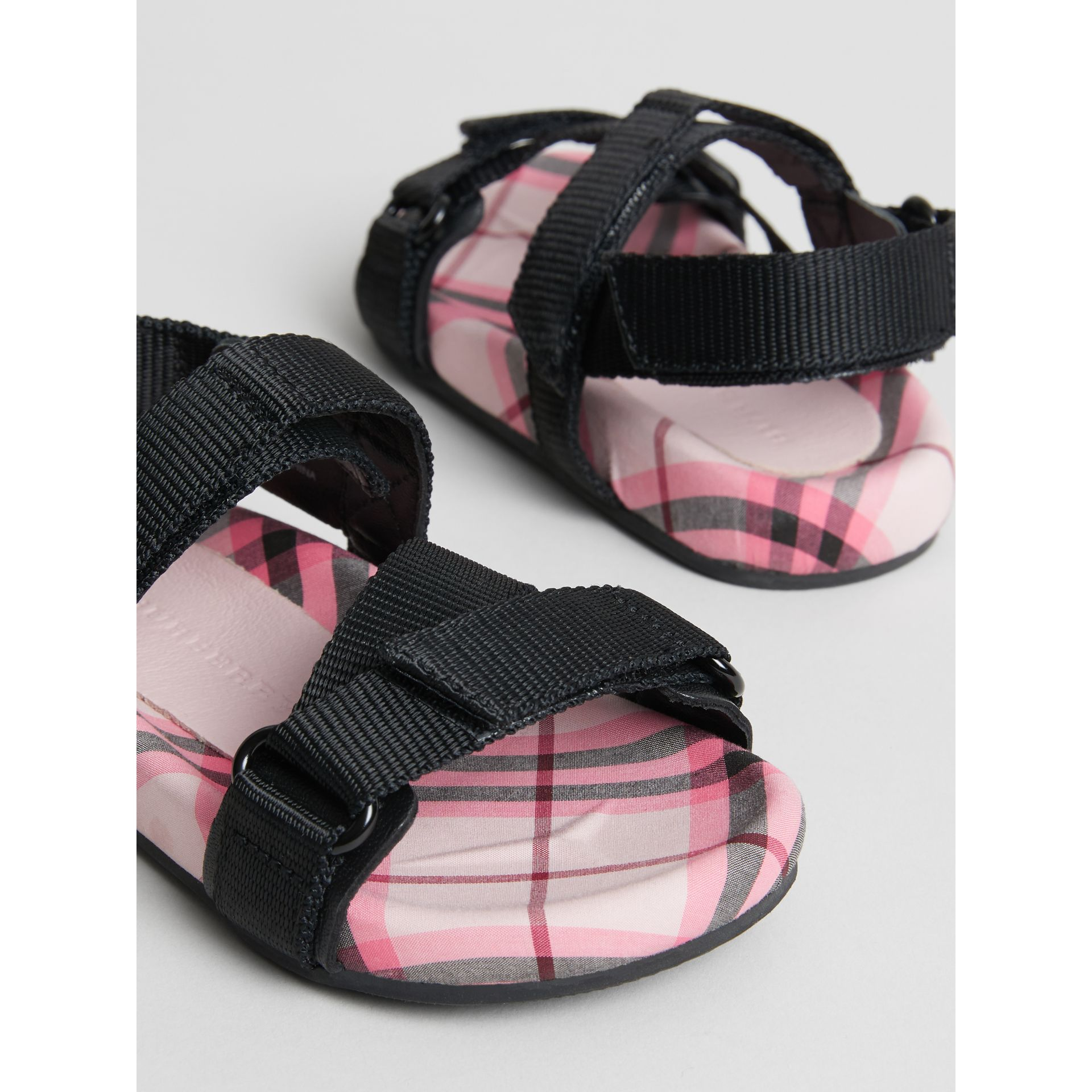Ripstop Strap Check Cotton Sandals in Bright Rose | Burberry - gallery image 1