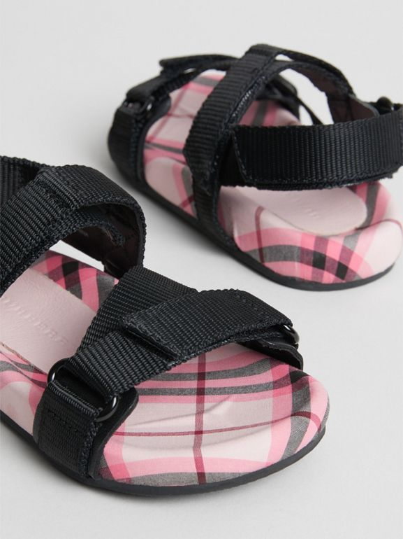 Ripstop Strap Check Cotton Sandals in Bright Rose - Children | Burberry - cell image 1