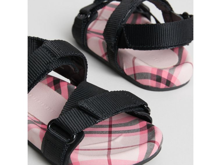 Ripstop Strap Check Cotton Sandals in Bright Rose | Burberry - cell image 1
