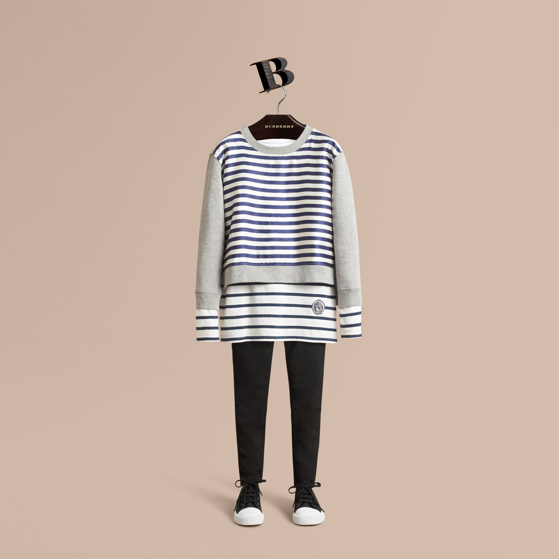 Striped Cotton Silk Panel Sweatshirt in Grey Melange - Boy | Burberry - gallery image 1