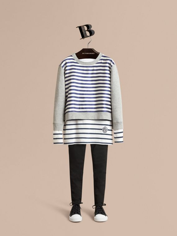Striped Cotton Silk Panel Sweatshirt in Grey Melange