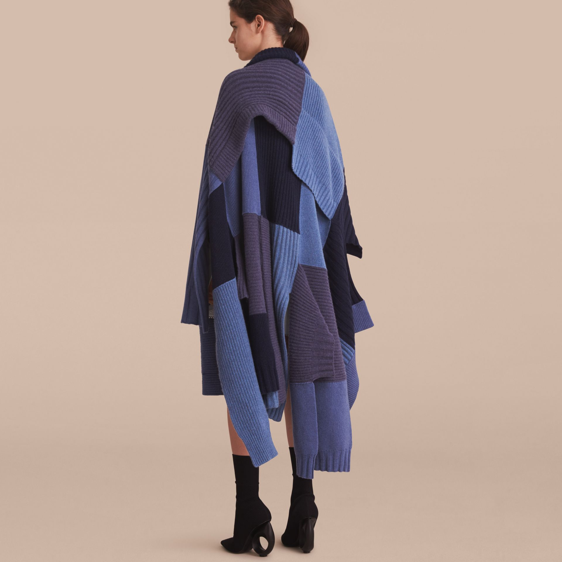 Wool Cashmere Patchwork Poncho in Carbon Blue - Women | Burberry - gallery image 3