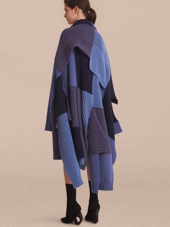 Wool Cashmere Patchwork Poncho in Carbon Blue - Women | Burberry - cell image 2