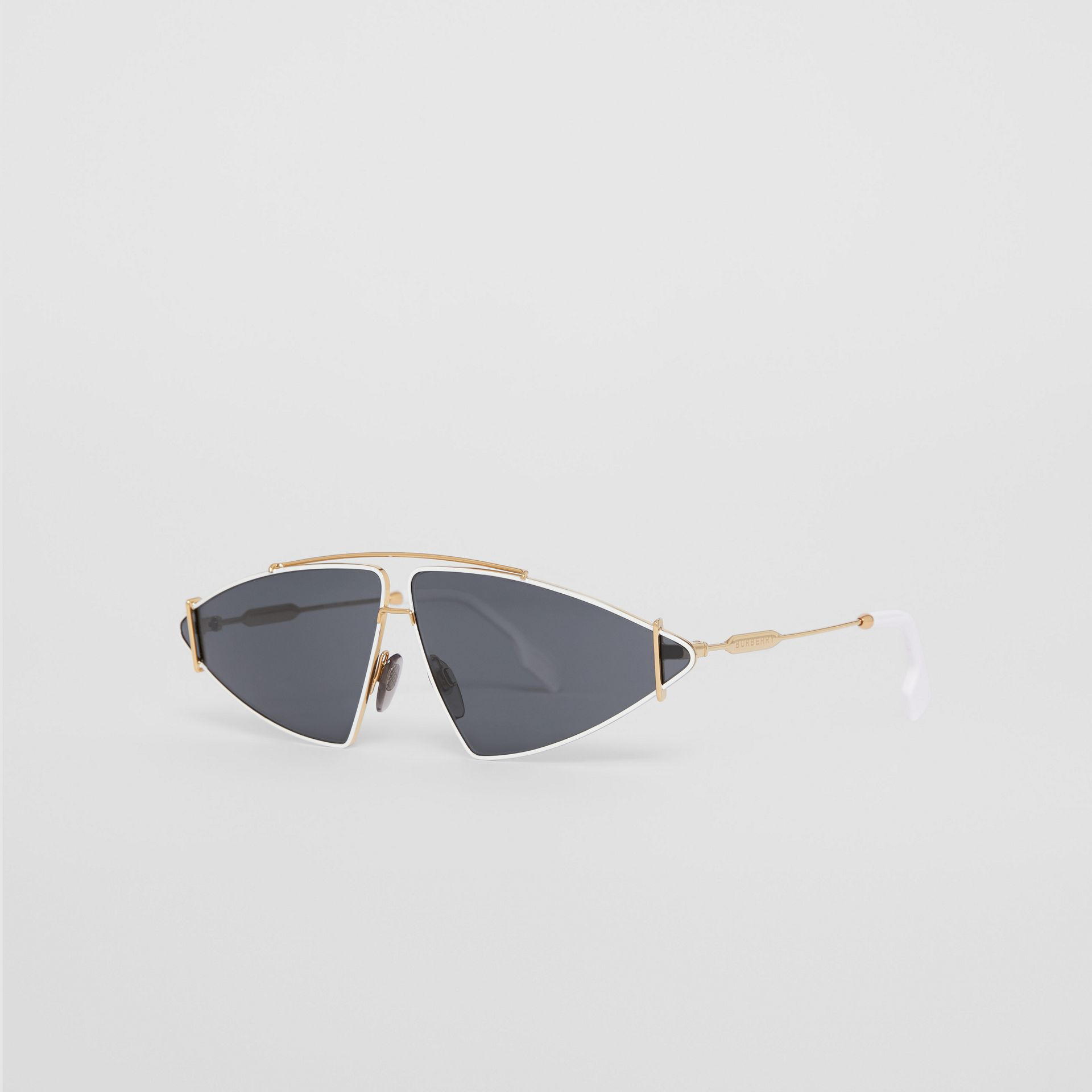 Gold-plated Triangular Frame Sunglasses in White - Women | Burberry - gallery image 4