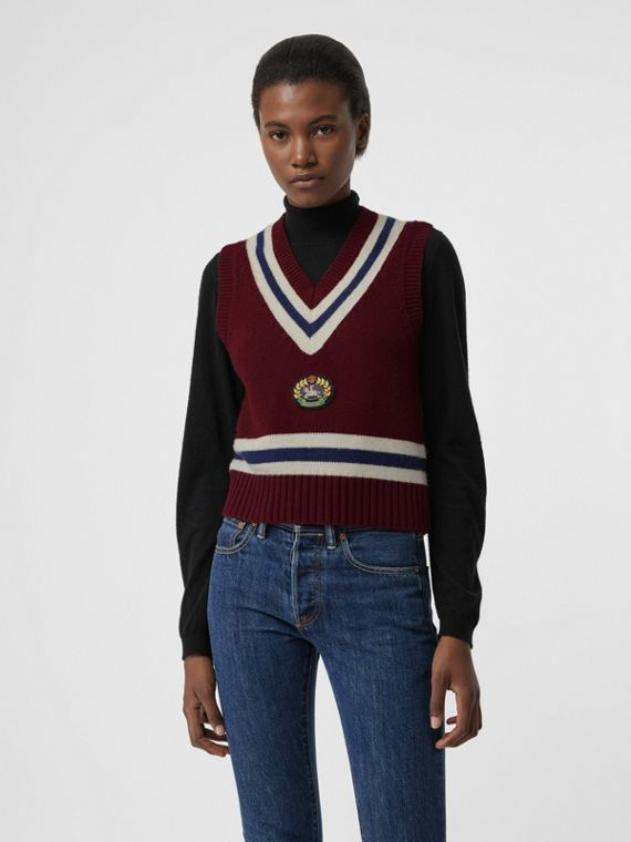 Embroidered Crest Wool Cashmere Tank Top in Burgundy