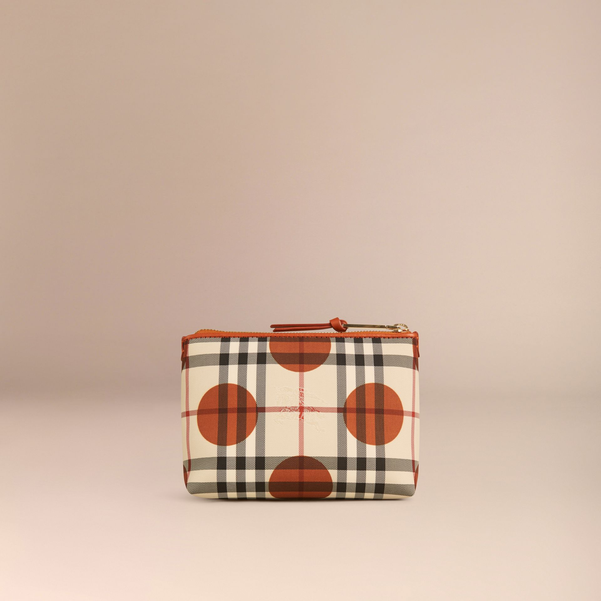 Orange brûlé Pochette medium à motif check et pois bordée de cuir Orange Brûlé - photo de la galerie 4