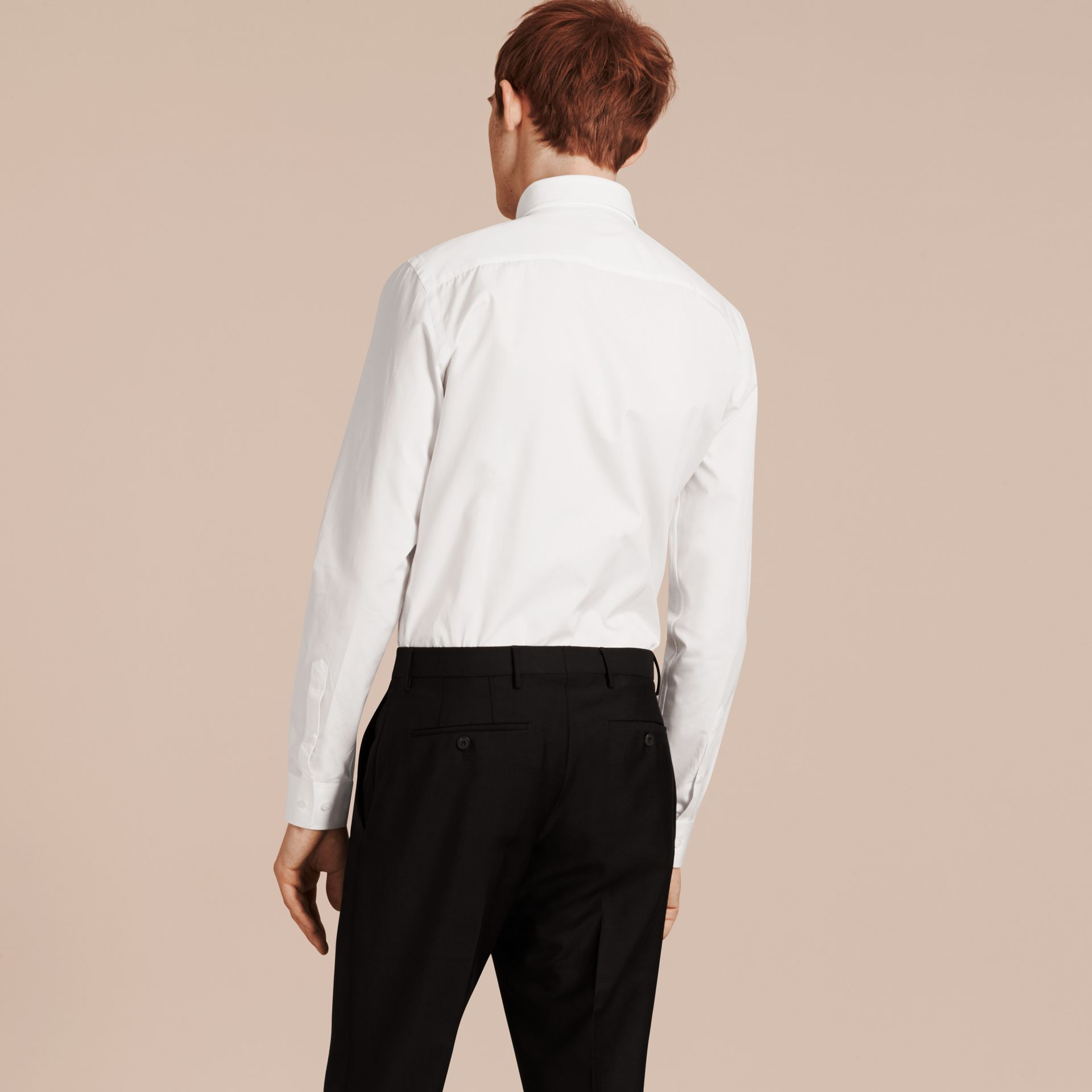 Slim Fit Cotton Poplin Shirt in White - Men | Burberry Hong Kong - gallery image 3
