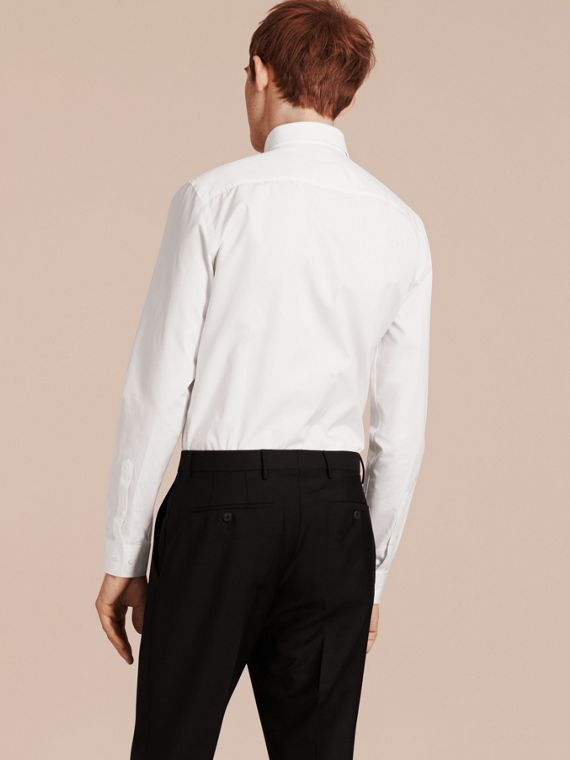 Slim Fit Cotton Poplin Shirt in White - Men | Burberry - cell image 2
