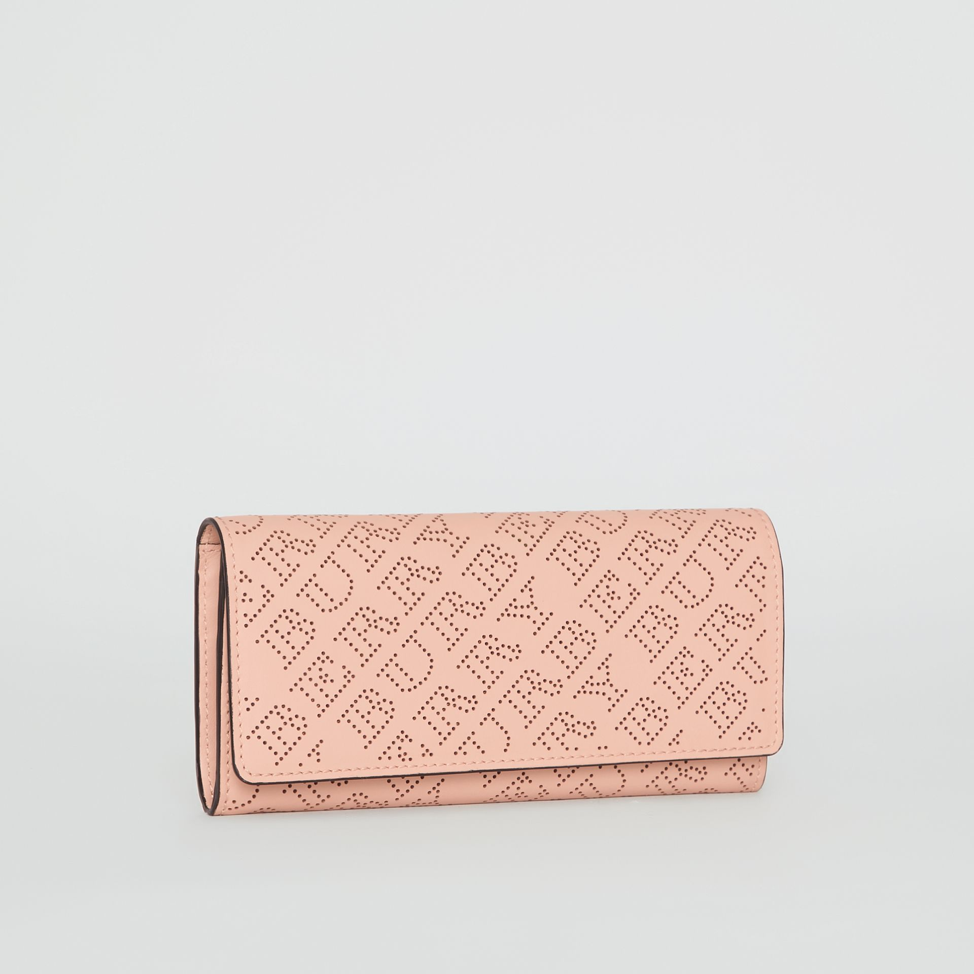 Perforated Logo Leather Continental Wallet in Pale Fawn Pink - Women | Burberry Australia - gallery image 4