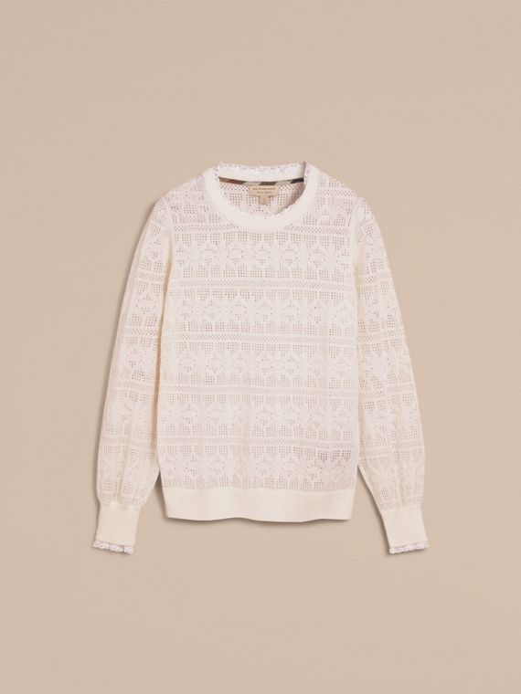 Lace Trim Knitted Wool Cashmere Sweater Natural White - cell image 3