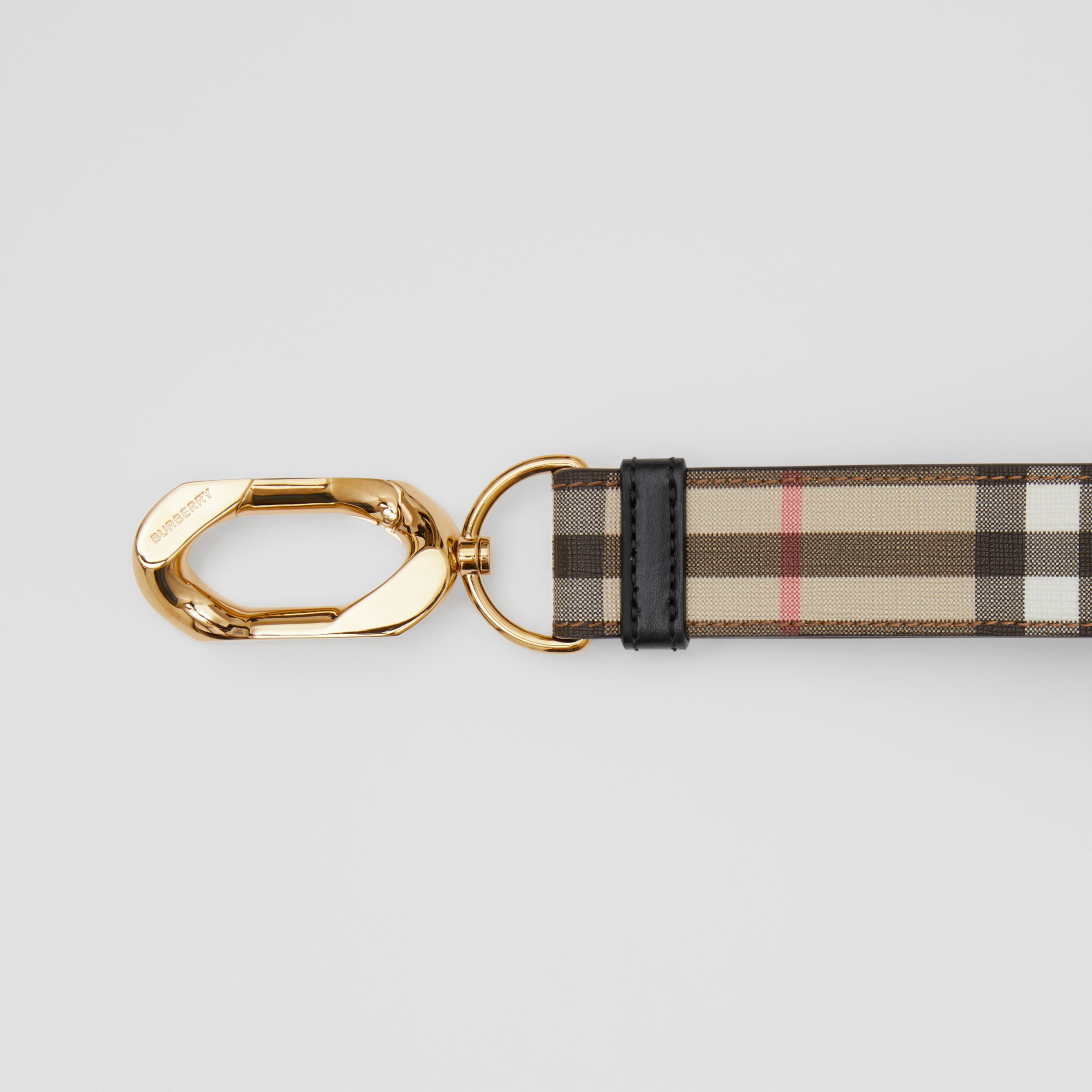 Leather Trim Vintage Check Charm in Archive Beige - Women | Burberry - 2