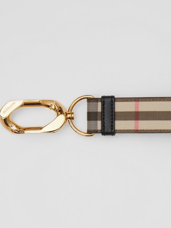 Leather Trim Vintage Check Charm in Archive Beige - Women | Burberry - cell image 1