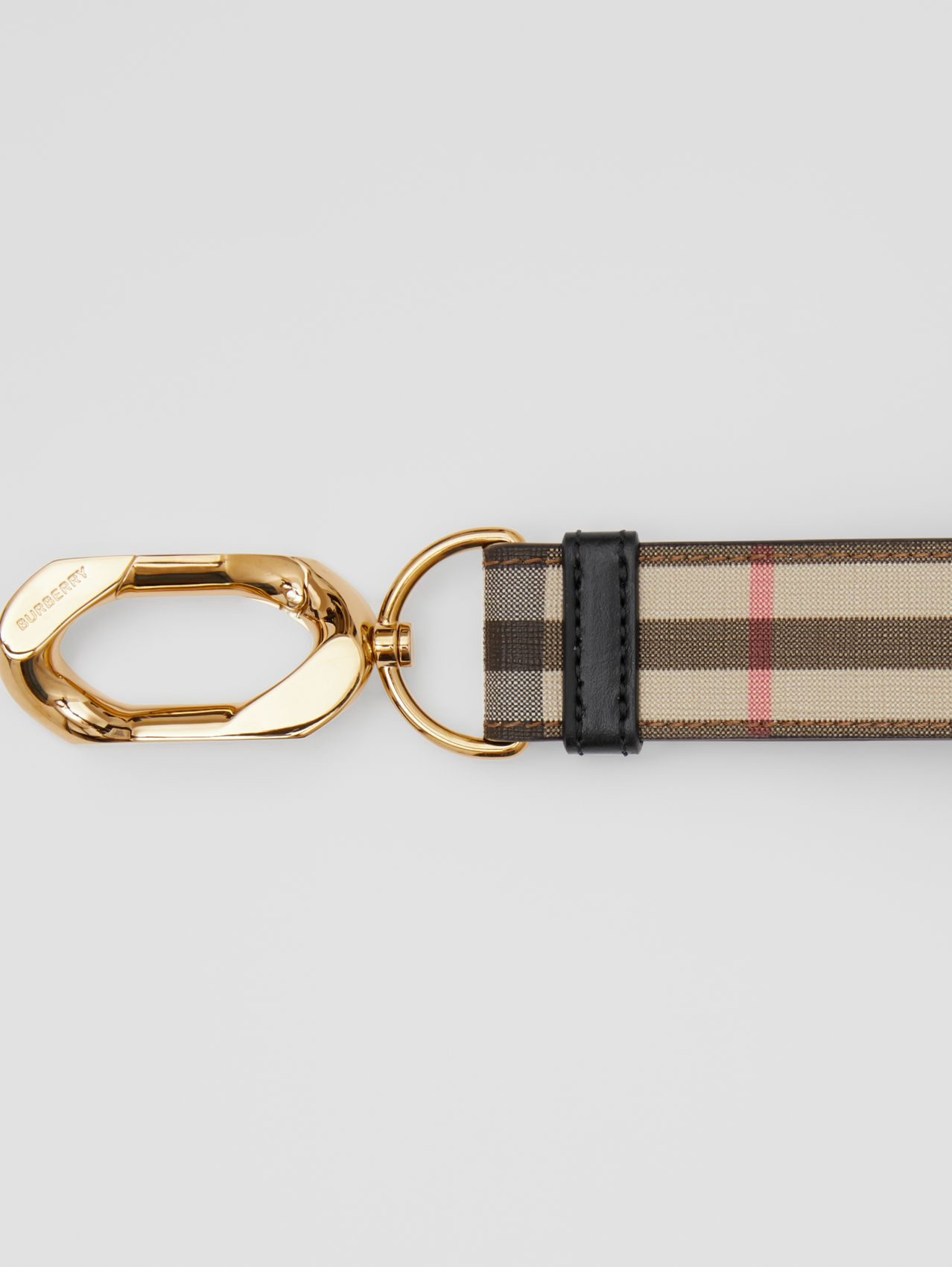 Leather Trim Vintage Check Charm (Archive Beige)